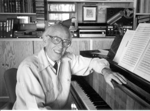 Knut Nystedt at his grand piano